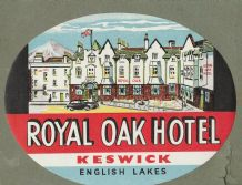 Collectible Hotel luggage label  England Royal Oak Lake District  #648